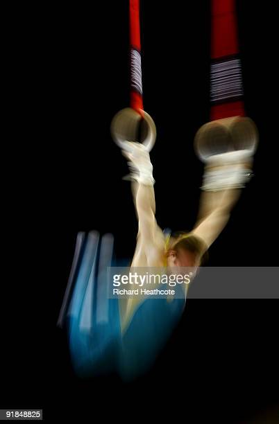 Joshua Jefferis of Australia competes on the rings during the Artistic Gymnastics World Championships 2009 at O2 Arena on October 13 2009 in London...