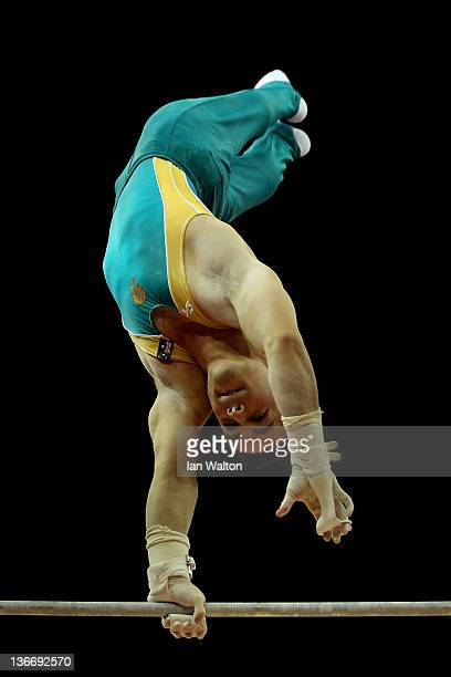 Joshua Jefferis of Australia in action on the Horizontal Bar during day one of the Men's Gymnastics Olympic Qualification round at North Greenwich...