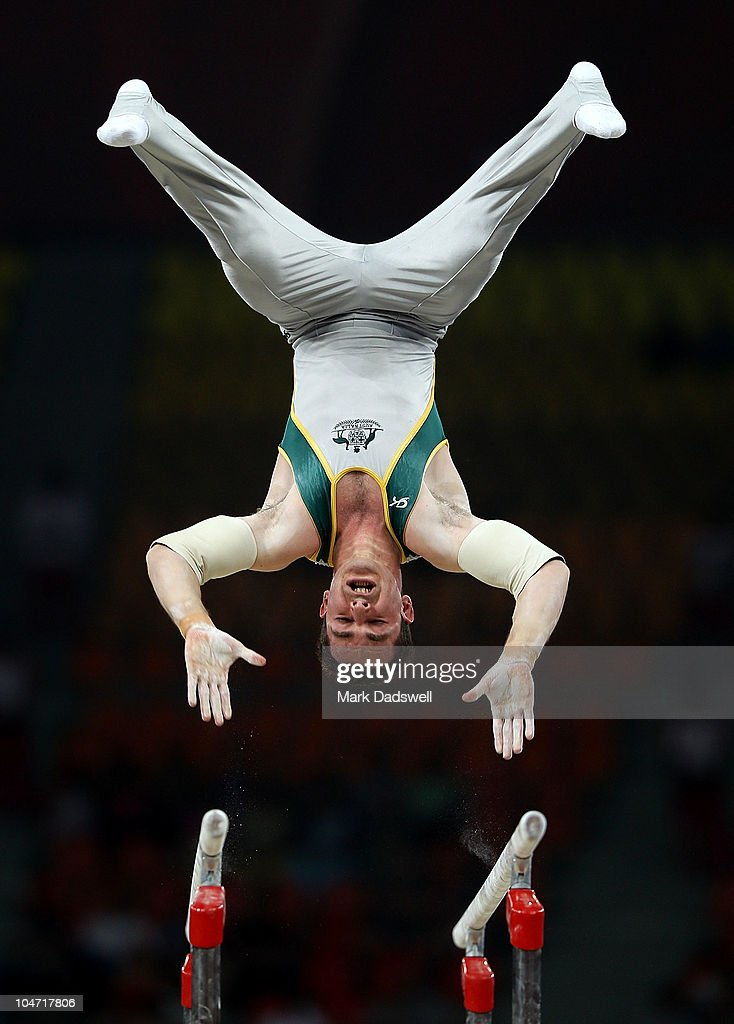 Joshua Jefferis of Australia in action on the parallel bars during the Men's Artistic Gymnastics Qualification at IG Sports Complex during day one of the Delhi 2010 Commonwealth Games on October 4, 2010 in Delhi, India. Wales led the qualifiers in first place.