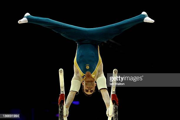 Joshua Jefferis of Australia in action on the Parallel Bars during day one of the Men's Gymnastics Olympic Qualification round at North Greenwich...