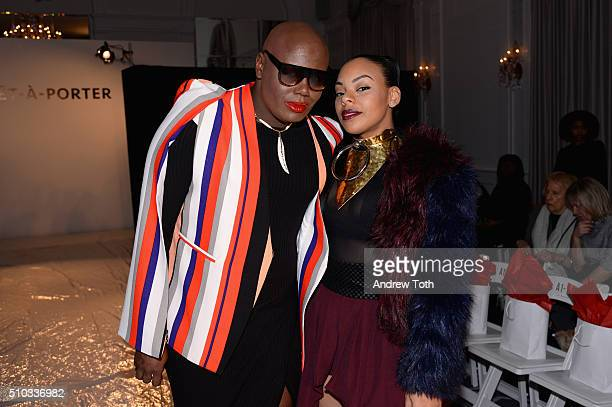 Joshua Johnson and Lauren Carmen attend the PretAPorter Fall 2016 fashion show during New York Fashion Week at Affinia Hotel on February 14 2016 in...