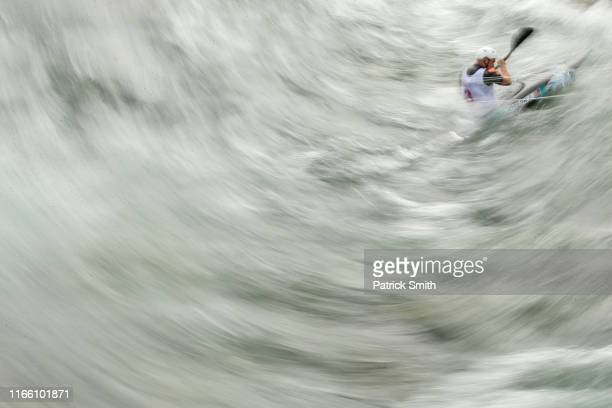 Joshua Joseph of the United States competes in the Men's Kayak K1 Semifinal on Day 9 of Lima 2019 Pan American Games at Rio Canete on August 04, 2019...