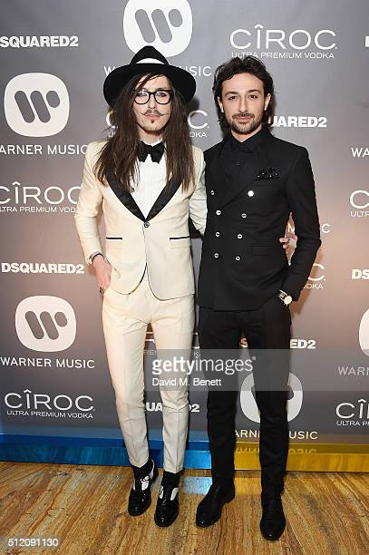 Joshua Kane and Alex Zane attend the Warner Music Group Ciroc Vodka Brit Awards after party at Freemasons Hall on February 24 2016 in London England