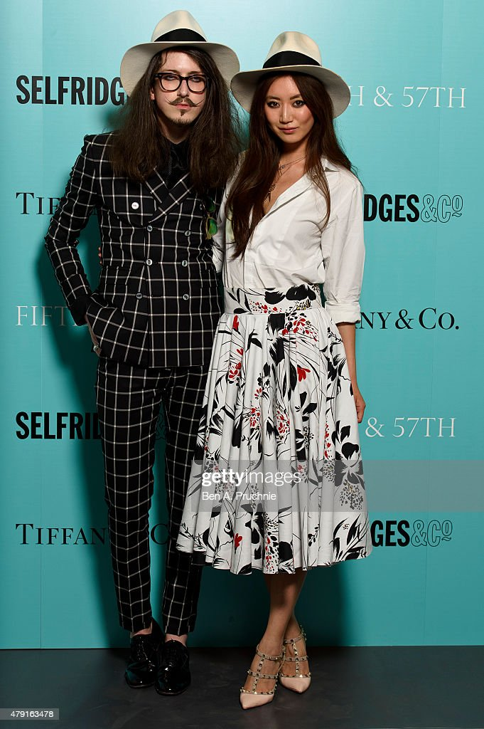 Joshua Kane and Betty Bachz arrives at the Tiffany & Co. immersive exhibition 'Fifth & 57th' at The Old Selfridges Hotel on July 1, 2015 in London, England.