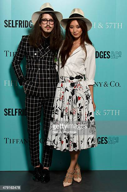 Joshua Kane and Betty Bachz arrives at the Tiffany Co immersive exhibition 'Fifth 57th' at The Old Selfridges Hotel on July 1 2015 in London England