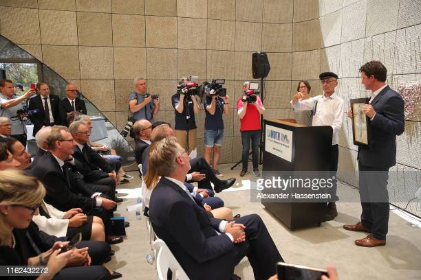 Joshua Kaufman speaks during a special exhibition in honor of Karl Landauer at Los Angeles Museum of the Holocaust during the second day of the FC...