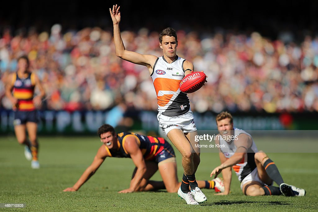 Joshua Kelly of the Giants kicks the ball during the round five AFL match between the Adelaide Crows and the Greater Western Sydney Giants at Adelaide Oval on April 20, 2014 in Adelaide, Australia.