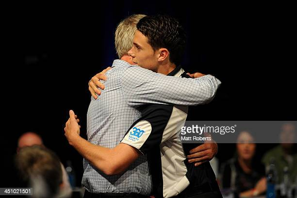 Joshua Kelly reacts after being drafted to Greater Western Sydney during the 2013 NAB AFL Draft on November 21 2013 on the Gold Coast Australia