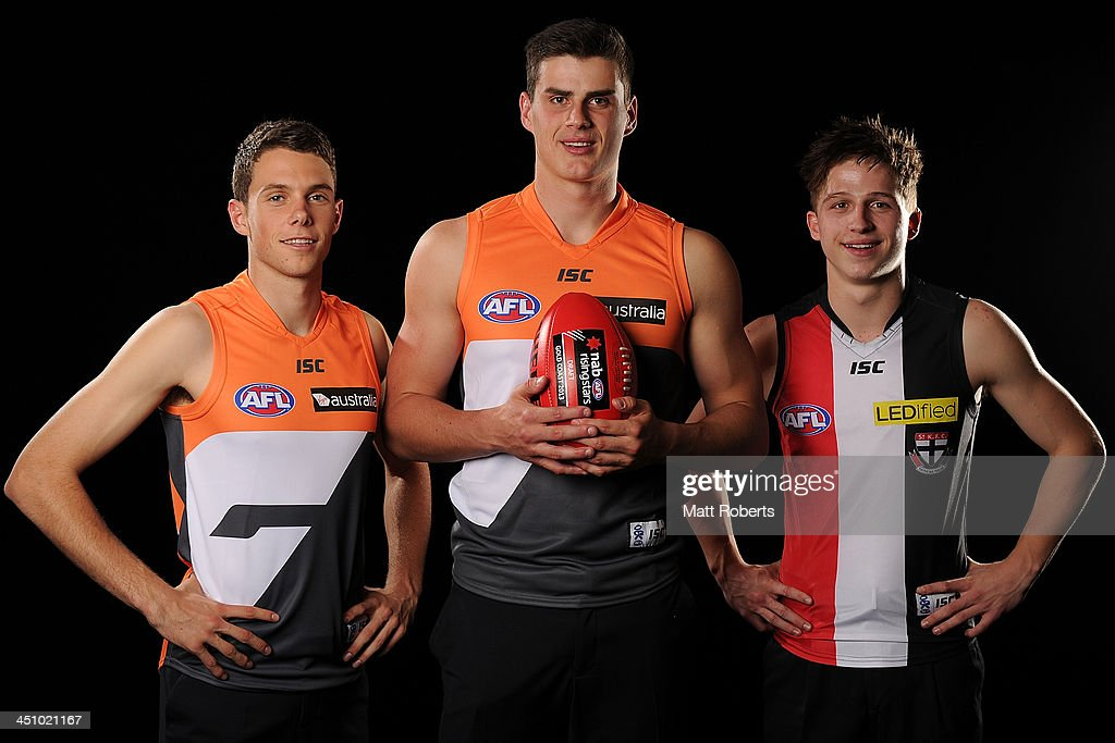 Joshua Kelly, Thomas Boyd and Jack Billings pose for a photograph during the 2013 NAB AFL Draft on November 21, 2013 on the Gold Coast, Australia.