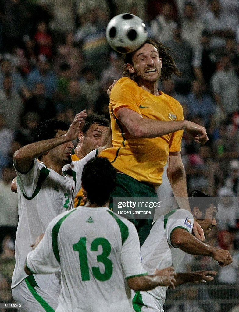 Joshua Kenedy of Australia heads the ball during the 2010 FIFA World Cup qualifying match between Iraq and Australia at Rashid Stadium on June 6, 2008 in Dubai, United Arab Emirates.