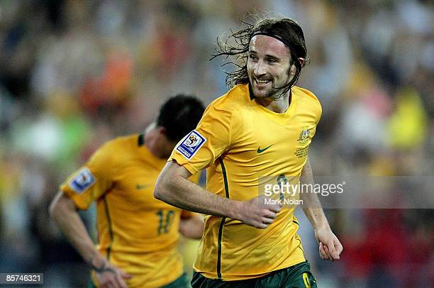 Joshua Kennedy of the Socceroos celebrates after scoring during the 2010 FIFA World Cup qualifying match between the Australian Socceroos and...