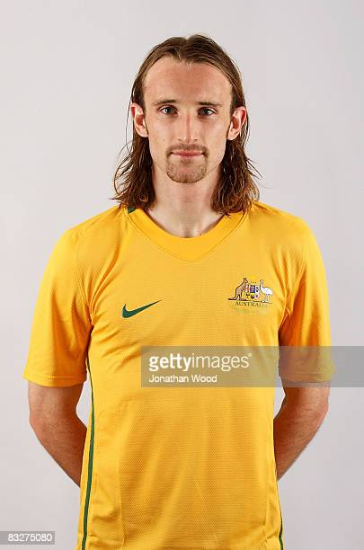 Joshua Kennedy poses during the Australian Socceroos portrait session at the Sofitel Grand Central on October 13 2008 in Brisbane Australia