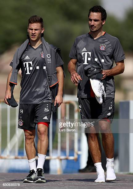 Joshua Kimmich and Mats Hummels are seen after a training session at day 2 of the Bayern Muenchen training camp at Aspire Academy on January 4 2017...