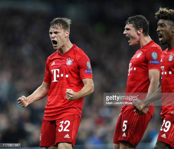Joshua Kimmich celebrates after scoring the first goal for Bayern during the UEFA Champions League group B match between Tottenham Hotspur and Bayern...