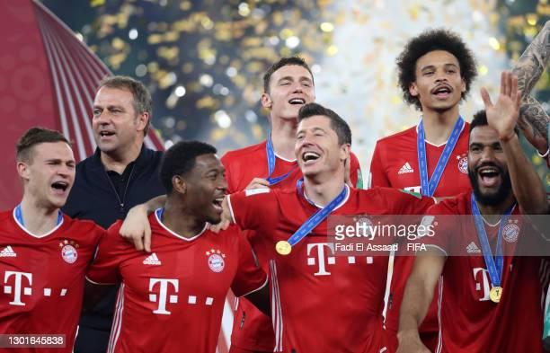 Joshua Kimmich, Hans-Dieter Flick, Head Coach of FC Bayern Muenchen, David Alaba, Benjamin Pavard, Robert Lewandowski, Leroy Sane and Eric Maxim...