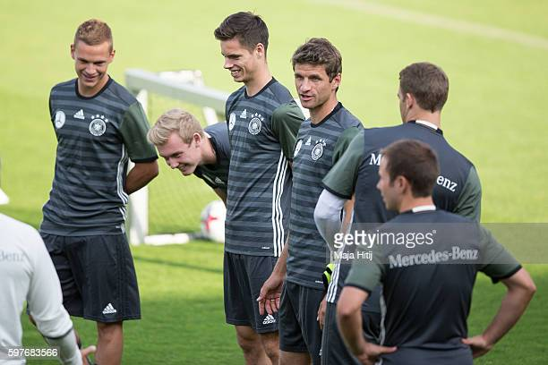 Joshua Kimmich Julian Brandt Julian Weigl Thomas Mueller Manuel Neuer and Mario Goetze of Germany during a Germany training session prior a friendly...