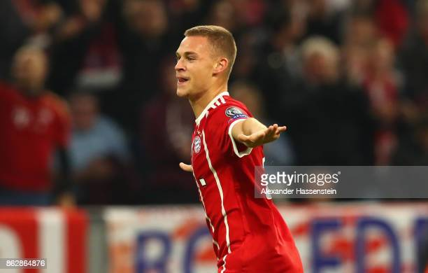 Joshua Kimmich of Bayern Muenchen celebrates scoring his sides second goal during the UEFA Champions League group B match between Bayern Muenchen and...