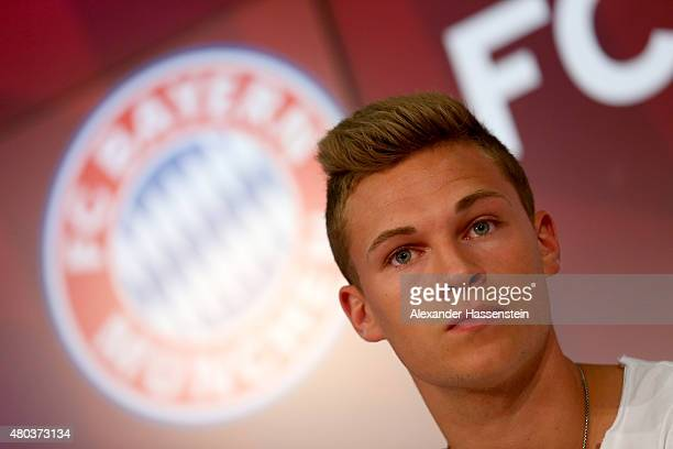 Joshua Kimmich of Bayern Muenchen looks on during a press conference head of the FC Bayern Muenchen season opening and team presentation at Allianz...