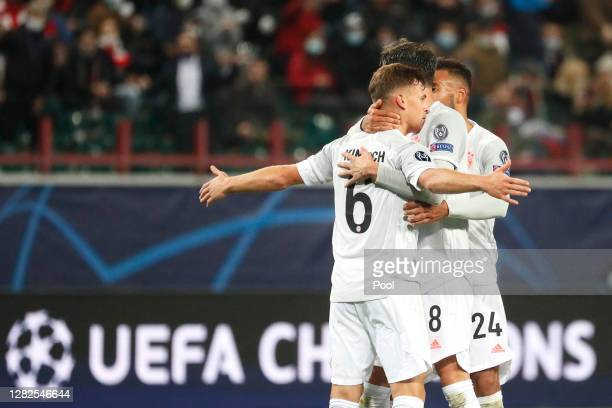 Joshua Kimmich of Bayern Munich celebrates after scoring his team's second goal during the UEFA Champions League Group A stage match between...