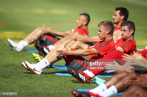 Joshua Kimmich of Bayern Munich in action during FC Bayern Muenchen pre season training on August 9, 2018 in Rottach-Egern, Germany.