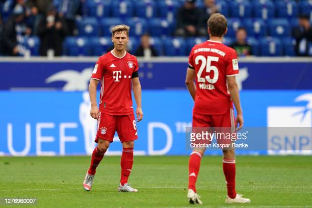 Joshua Kimmich of Bayern Munich looks dejected after conceding their second goal during the Bundesliga match between TSG Hoffenheim and FC Bayern...