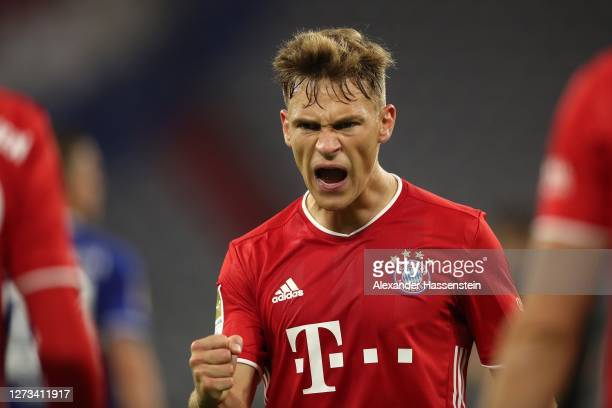 Joshua Kimmich of Bayern Munich reacts during the Bundesliga match between FC Bayern Muenchen and FC Schalke 04 at Allianz Arena on September 18 2020...