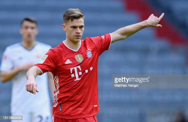 Joshua Kimmich of FC Bayern München in action during the Bundesliga match between FC Bayern Muenchen and 1. FC Union Berlin at Allianz Arena on April...