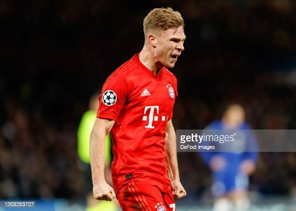 Joshua Kimmich of FC Bayern Muenchen celebrates after scoring his team's third goal during the UEFA Champions League round of 16 first leg match...