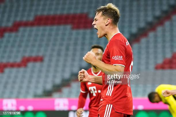 Joshua Kimmich of FC Bayern Muenchen celebrates after scoring his team's third goal during the Supercup 2020 match between FC Bayern München and...