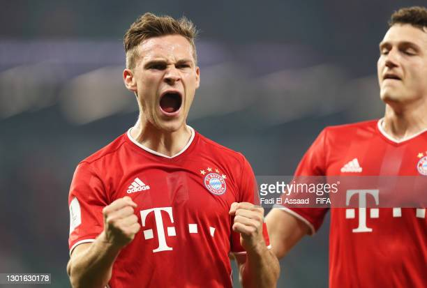 Joshua Kimmich of FC Bayern Muenchen celebrates after scoring their team's first goal which was later disallowed by VAR during the FIFA Club World...