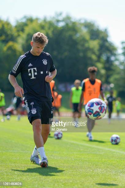Joshua Kimmich of FC Bayern Muenchen controls the ball during a training session at Saebener Strasse training ground on July 28 2020 in Munich Germany