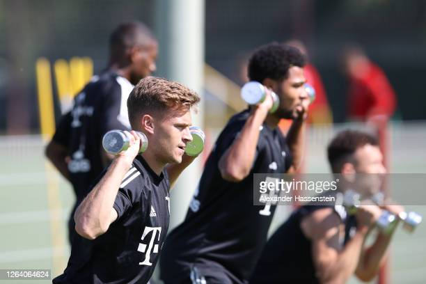 Joshua Kimmich of FC Bayern Muenchen during a training session at Saebener Strasse training ground on August 05 2020 in Munich Germany