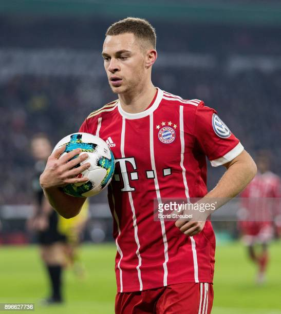 Joshua Kimmich of FC Bayern Muenchen during the DFB Cup match between Bayern Muenchen and Borussia Dortmund at Allianz Arena on December 20 2017 in...