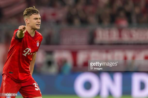 Joshua Kimmich of FC Bayern Muenchen gestures during the UEFA Champions League group B match between Bayern Muenchen and Olympiacos FC at Allianz...