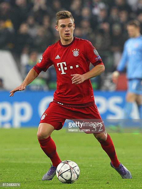 Joshua Kimmich of FC Bayern Muenchen in action during the UEFA Champions League Round of 16 first leg match between Juventus and FC Bayern Muenchen...