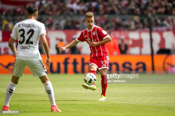 Joshua Kimmich of FC Bayern Muenchen in actionduring the Bundesliga match between Bayern Muenchen and SC Freiburg at Allianz Arena on May 20 2017 in...