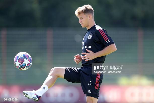 Joshua Kimmich of FC Bayern Muenchen plays with the ball during a training session at Saebener Strasse training ground on August 05 2020 in Munich...