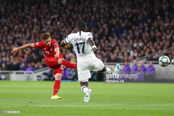 Joshua Kimmich of FC Bayern Munich scores his team's first goal during the UEFA Champions League group B match between Tottenham Hotspur and Bayern...