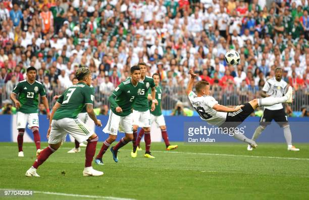 Joshua Kimmich of Germany attempts an overhead kick during the 2018 FIFA World Cup Russia group F match between Germany and Mexico at Luzhniki...