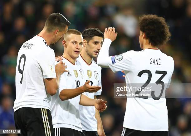 Joshua Kimmich of Germany celebrates scoring the third goal with Lars Stindl Sandro Wagner and Leroy Sane during the FIFA 2018 World Cup Qualifier...