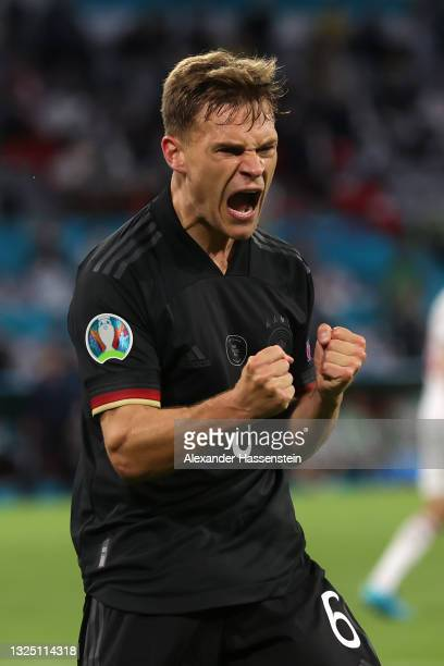 Joshua Kimmich of Germany celebrates their side's second goal scored by team mate Leon Goretzka during the UEFA Euro 2020 Championship Group F match...