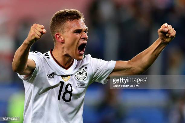 Joshua Kimmich of Germany celebrates victory at the final whistle during the FIFA Confederations Cup Russia 2017 Final match between Chile and...