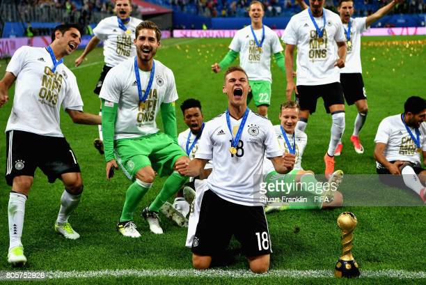 Joshua Kimmich of Germany celebrates with the FIFA Confederations Cup trophy after the FIFA Confederations Cup Russia 2017 Final between Chile and...