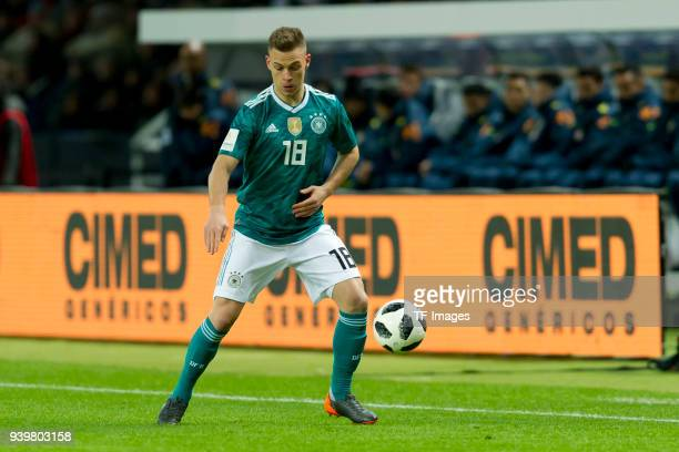 Joshua Kimmich of Germany controls the ball during the international friendly match between Germany and Brazil at Olympiastadion on March 27 2018 in...