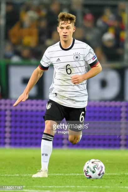 Joshua Kimmich of Germany controls the ball during the UEFA Euro 2020 Qualifier between Germany and Belarus on November 16 2019 in Moenchengladbach...