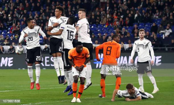 Joshua Kimmich of Germany during a free kick during the UEFA Nations League A group one match between Germany and Netherlands at VeltinsArena on...