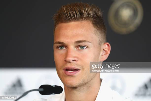 Joshua Kimmich of Germany during a press conference of the German National team at MercedesBenzMuseum on August 30 2017 in Stuttgart Germany