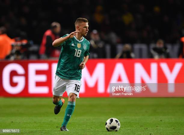 Joshua Kimmich of Germany in action during the international friendly match between Germany and Brazil at Olympiastadion on March 27 2018 in Berlin...