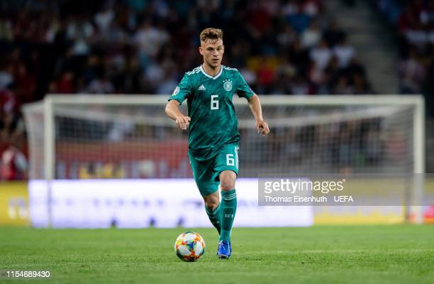 Joshua Kimmich of Germany plays the ball during the UEFA Euro 2020 qualifier match between Belarus and Germany at BorisovArena on June 08 2019 in...