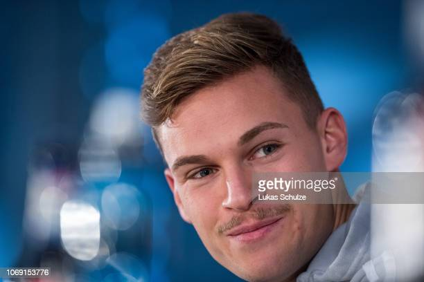 Joshua Kimmich of Germany speaks during the press conference ahead of their UEFA Nations League match against The Netherlands on November 18 2018 in...